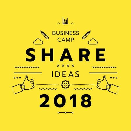 Designvorlage Business camp promotion icons in yellow für Instagram AD