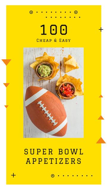 Ontwerpsjabloon van Instagram Story van Rugby ball with snacks