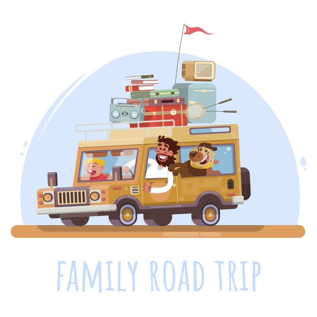Happy family travelling by car — Créer un visuel