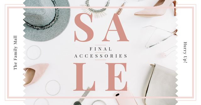 Plantilla de diseño de Accessories Sale Fashion Look Composition Facebook AD