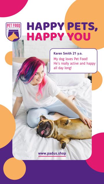 Plantilla de diseño de Pet Adoption Ad Woman with French Bulldog Instagram Story
