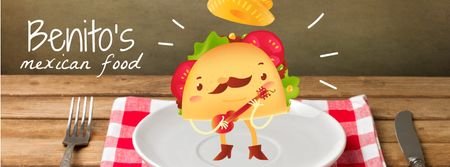 Mexican taco cartoon character playing guitar on plate Facebook Video cover Modelo de Design