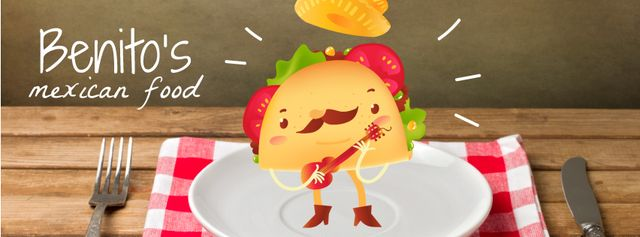 Ontwerpsjabloon van Facebook Video cover van Mexican taco cartoon character playing guitar on plate