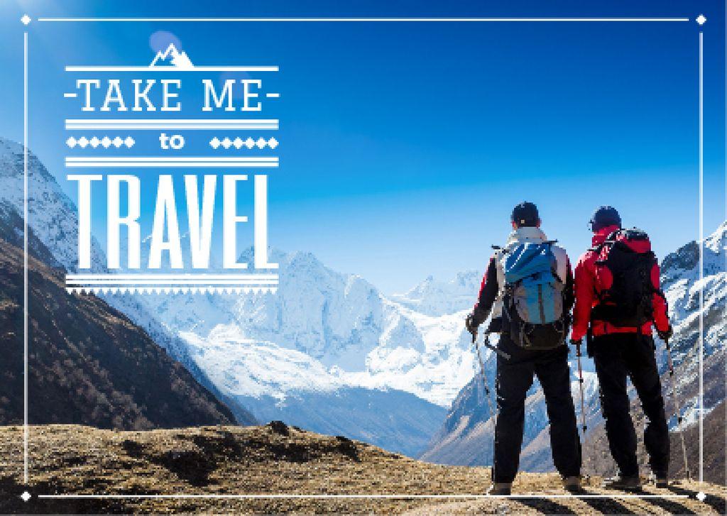 Mountain hiking travel poster — Создать дизайн