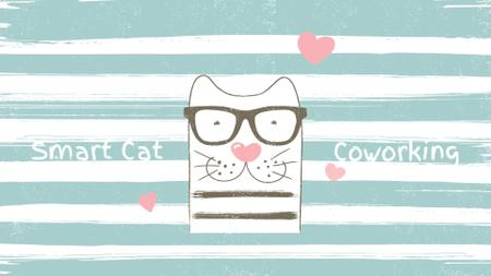 Smart Cat on Striped Background with Hearts Full HD video – шаблон для дизайна