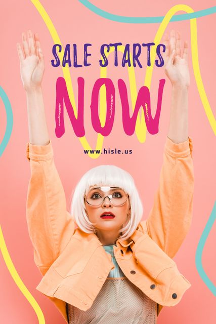 Szablon projektu Fashion Ad with Girl Raising Hands Tumblr