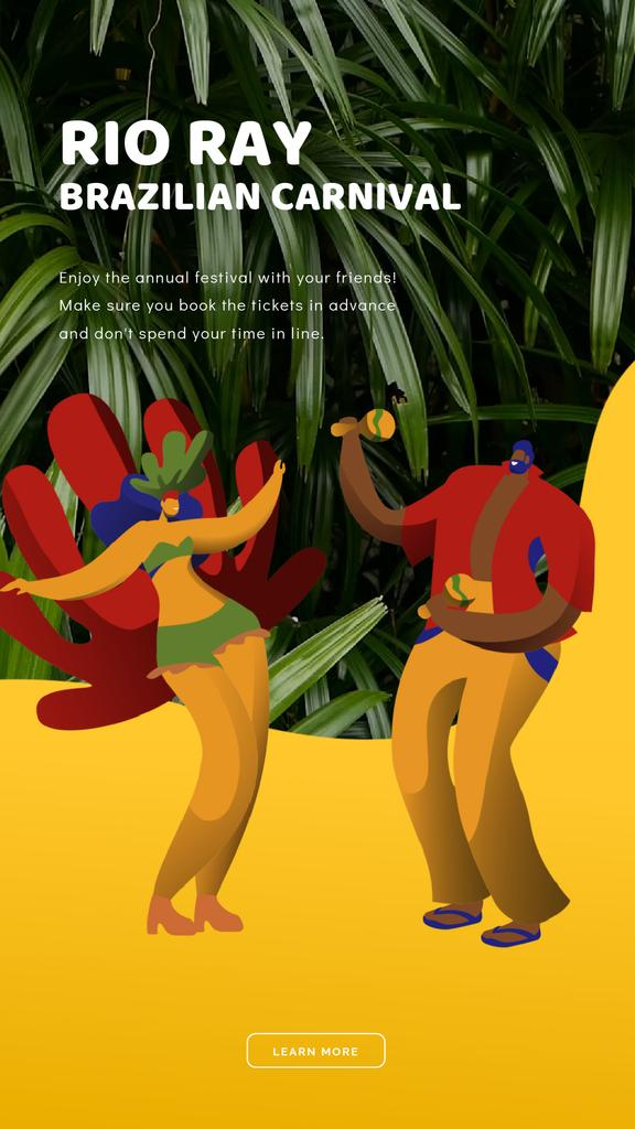 Brazilian Carnival Invitation People Dancing | Vertical Video Template — Créer un visuel