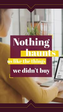 Consumerism Quote Woman Shopping Online | Vertical Video Template