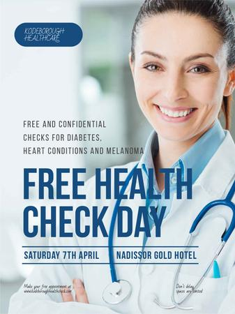 Free health check offer with smiling Doctor Poster US Modelo de Design