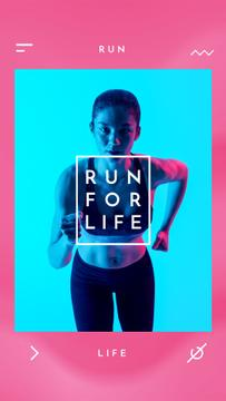 Running Club Ad Woman Runner in Neon Light | Vertical Video Template