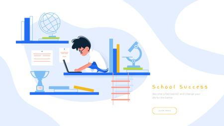 Plantilla de diseño de Boy studying with laptop Full HD video
