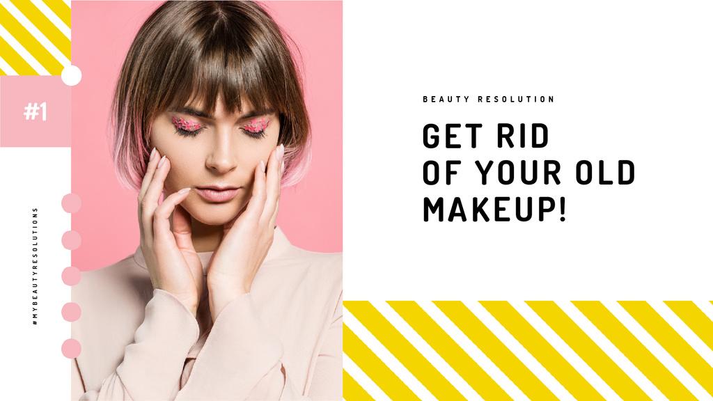 Cosmetics Sale Woman with Creative Makeup — Crea un design