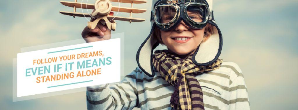 Boy playing with toy plane — ein Design erstellen