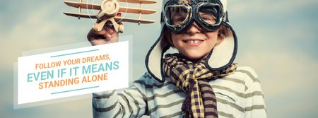 Template di design Boy playing with toy plane Facebook Video cover