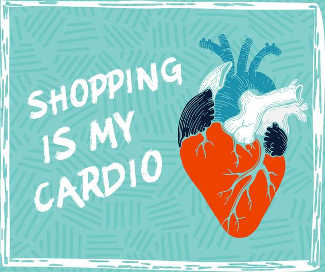 Shopping cardio quote on Heart drawing Facebook Modelo de Design