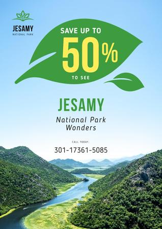 National Park Tour Offer with Forest and Mountains Poster Modelo de Design