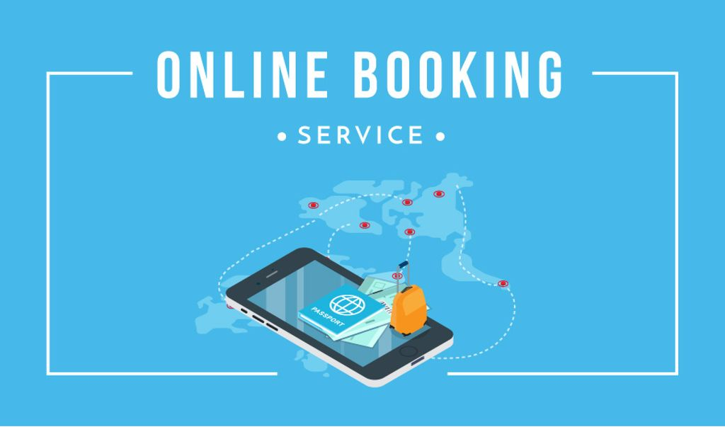 Online Booking Service Smartphone and Map | Business Card Template — Створити дизайн