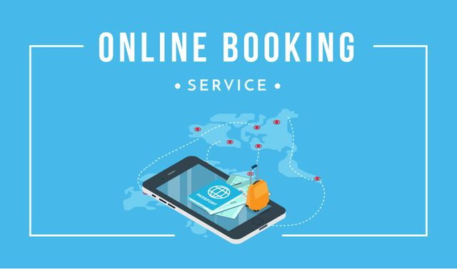Modèle de visuel Online Booking Service with Smartphone and Map - Business card