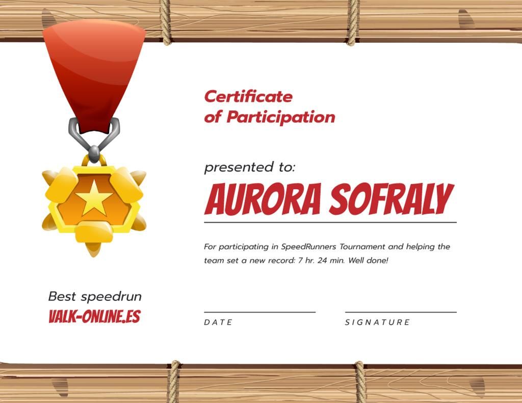 Games Speedrun Participation award with medal — Create a Design