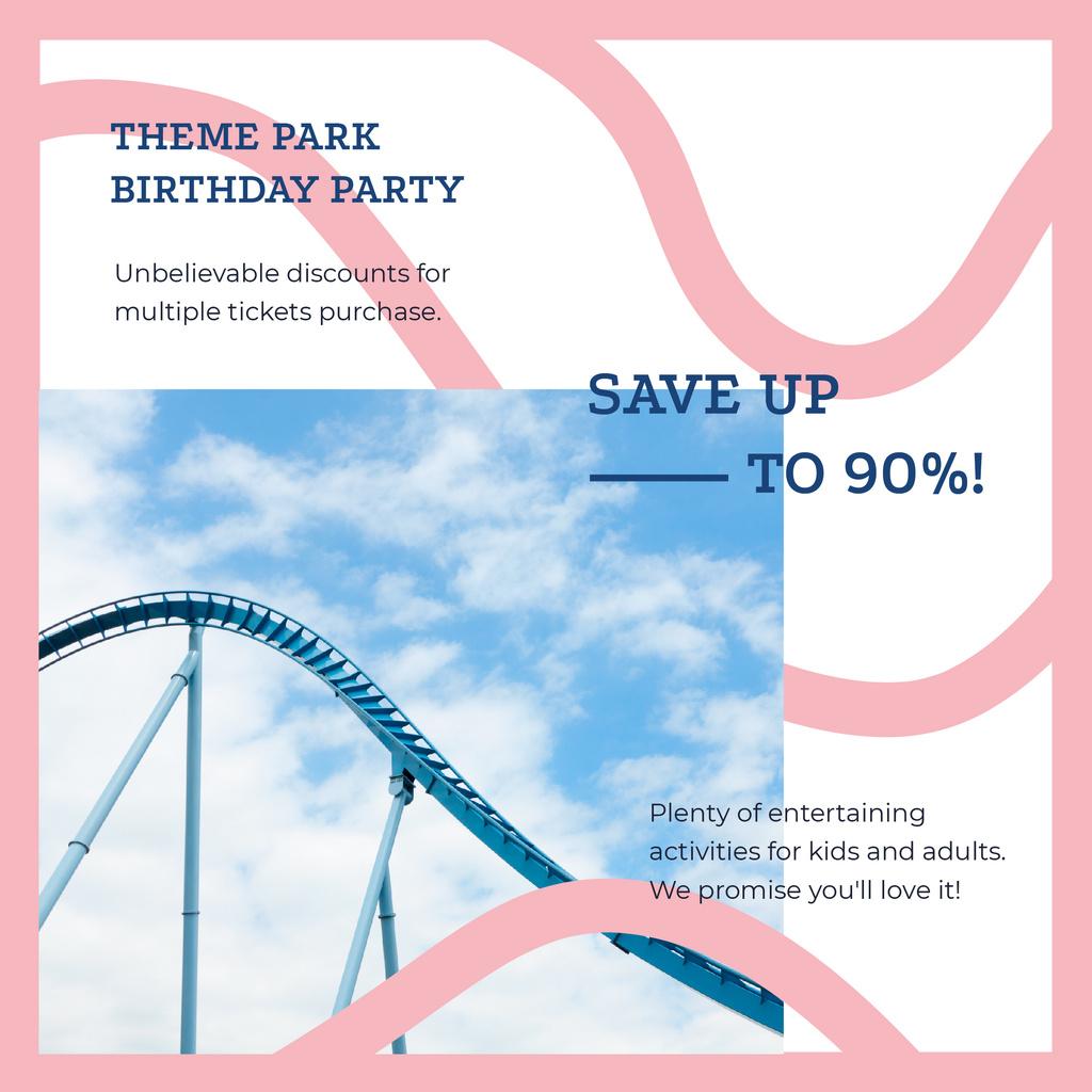 Birthday Party at Amusement park offer Instagram AD – шаблон для дизайна