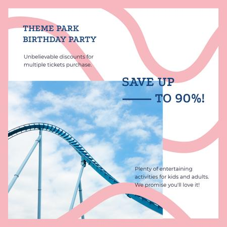 Birthday Party at Amusement park offer Instagram AD – шаблон для дизайна
