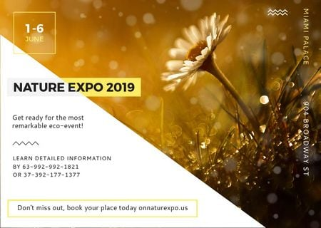 Ontwerpsjabloon van Card van Nature Expo Announcement with Daisy Flower