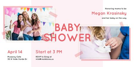 Ontwerpsjabloon van Twitter van Baby Shower Invitation with Happy Pregnant Woman
