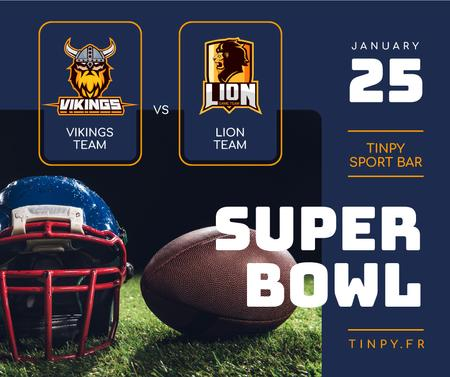 Super Bowl Match Ball and Helmet on field Facebook Design Template