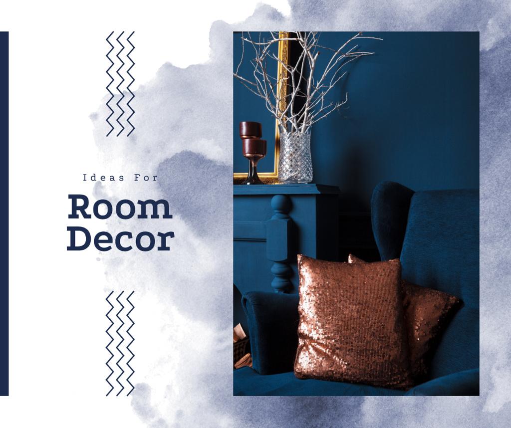 Cozy interior in blue colors — Create a Design
