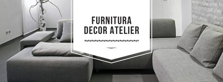 Interior decoration with Sofa in grey Facebook cover Modelo de Design