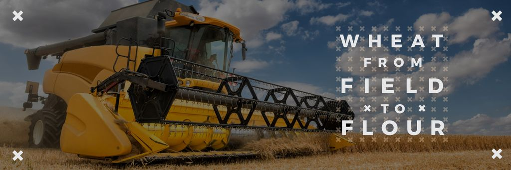 Wheat from field to flour poster with combine-harvester —デザインを作成する