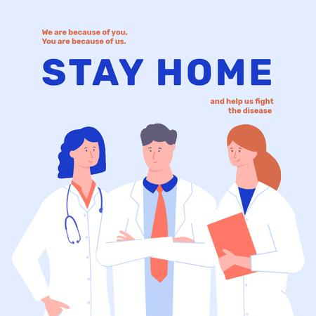 Plantilla de diseño de #Stayhome Coronavirus awareness with Doctors team Animated Post