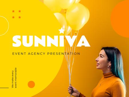 Event Agency Ad with Girl Holding Yellow Balloons Presentation Tasarım Şablonu