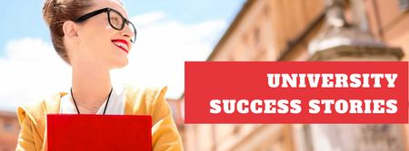 Plantilla de diseño de University success stories with smiling Woman Facebook cover