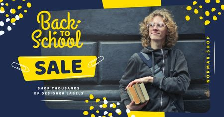 Back to School Sale Student Holding Books Facebook AD Modelo de Design