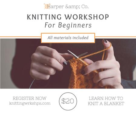 Woman knitting Blanket at Knitting Workshop Facebookデザインテンプレート