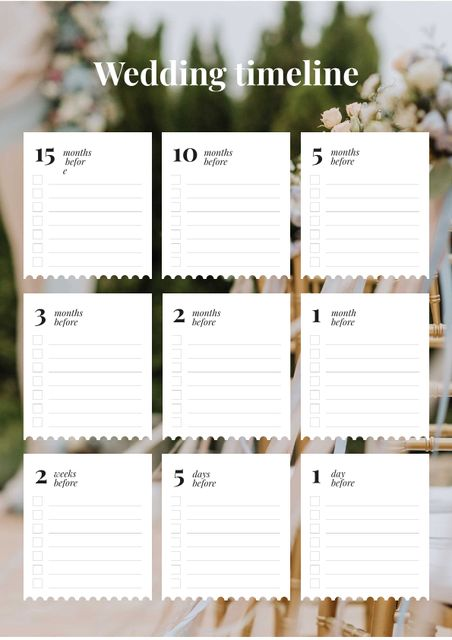 Wedding Timeline Planner with Decorated Holiday Garden Schedule Plannerデザインテンプレート