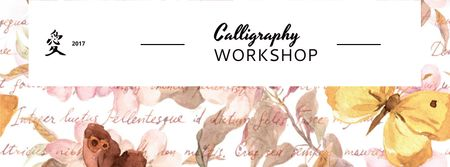 Calligraphy workshop Annoucement Facebook cover Modelo de Design