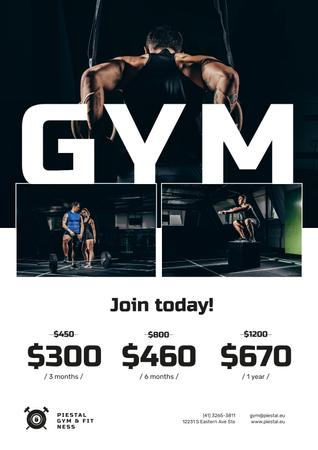 Gym Offer with People doing Workout Poster Modelo de Design