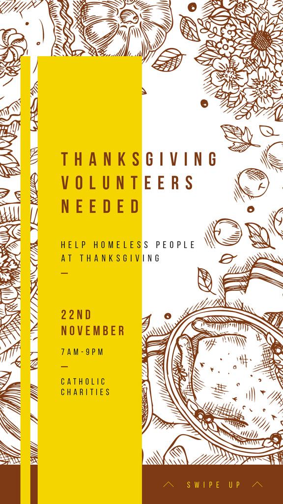Thanksgiving feast concept with Food illustration — Crea un design