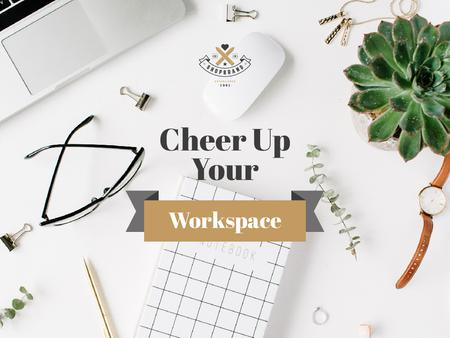Minimalistic Workplace Ad with Plant Presentationデザインテンプレート