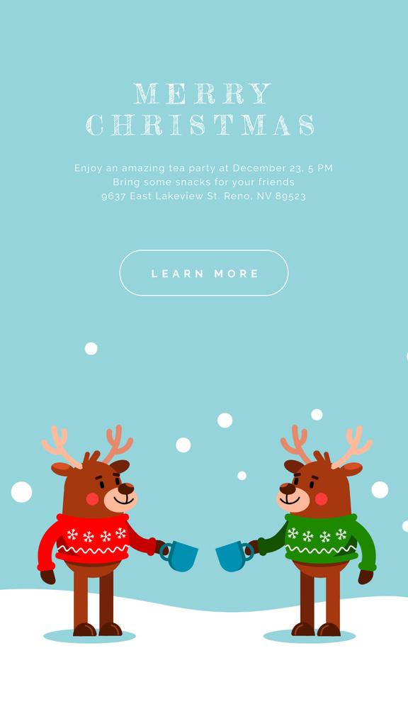 Happy deer in Christmas sweaters — Create a Design