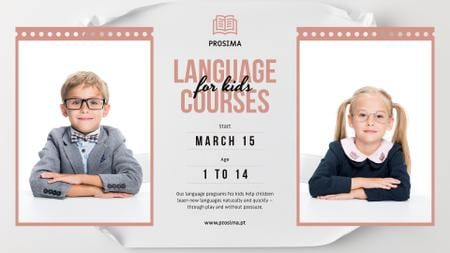 Plantilla de diseño de Language Courses for Kids in Uniform FB event cover