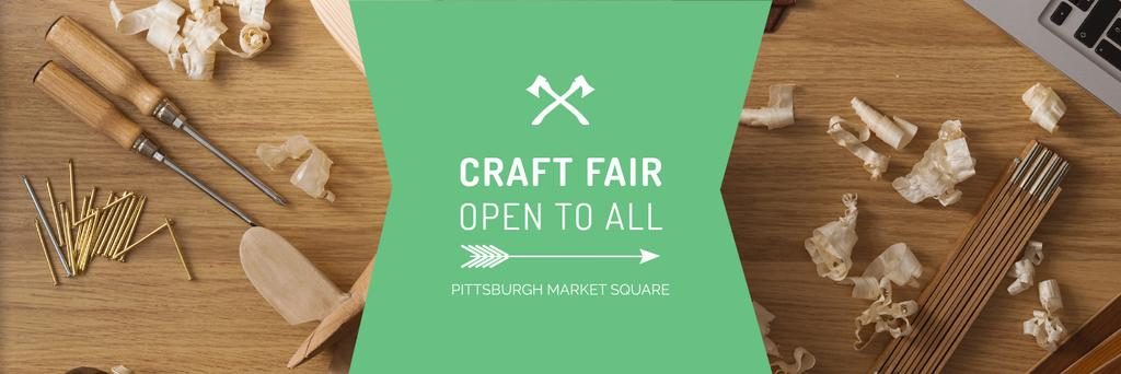 Craft Fair Announcement Wooden Toy and Tools — Modelo de projeto