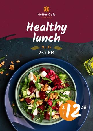 Healthy Menu Offer Salad in a Plate Flayer Tasarım Şablonu