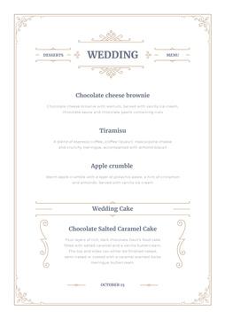 Wedding Desserts list