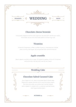 Plantilla de diseño de Wedding Desserts list Menu