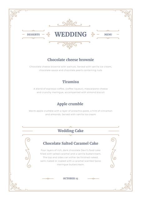 Wedding Desserts list Menu Design Template