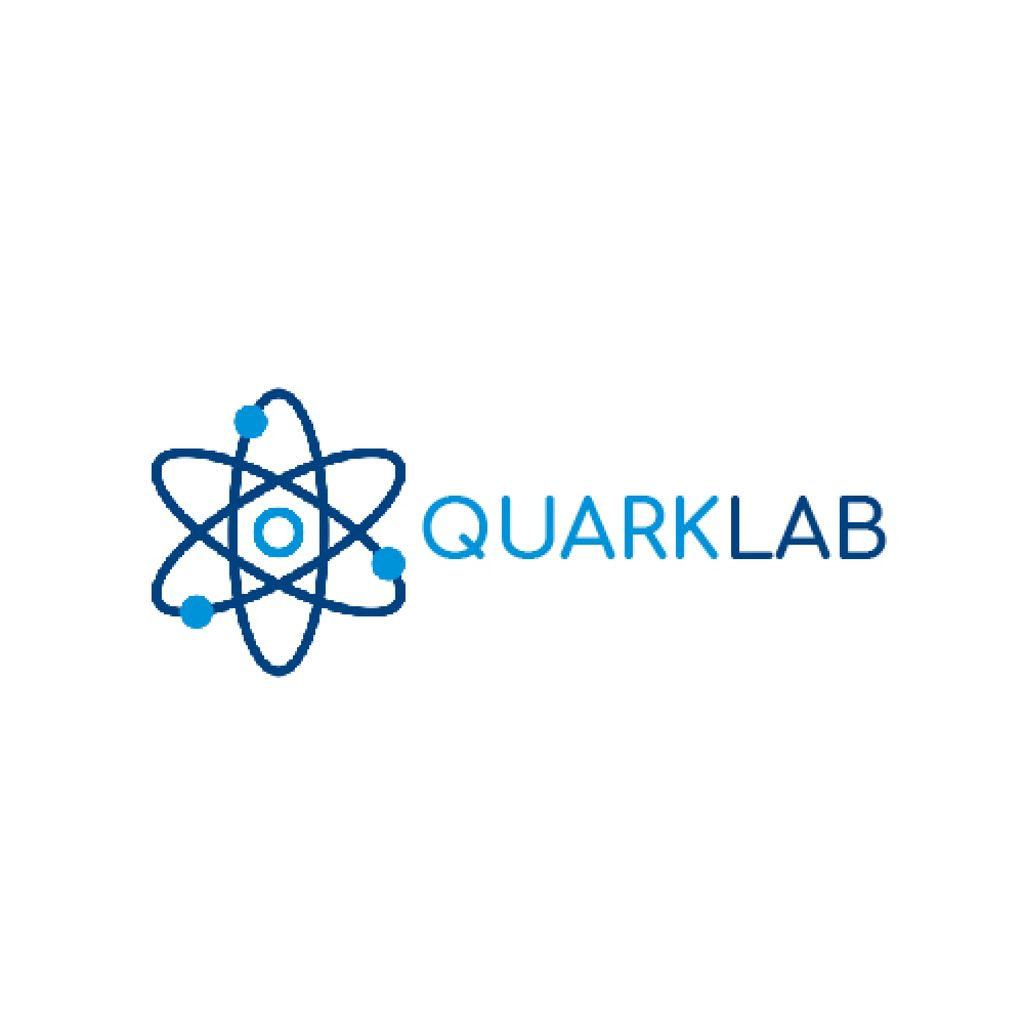Lab Research Atom Icon in Blue — Maak een ontwerp