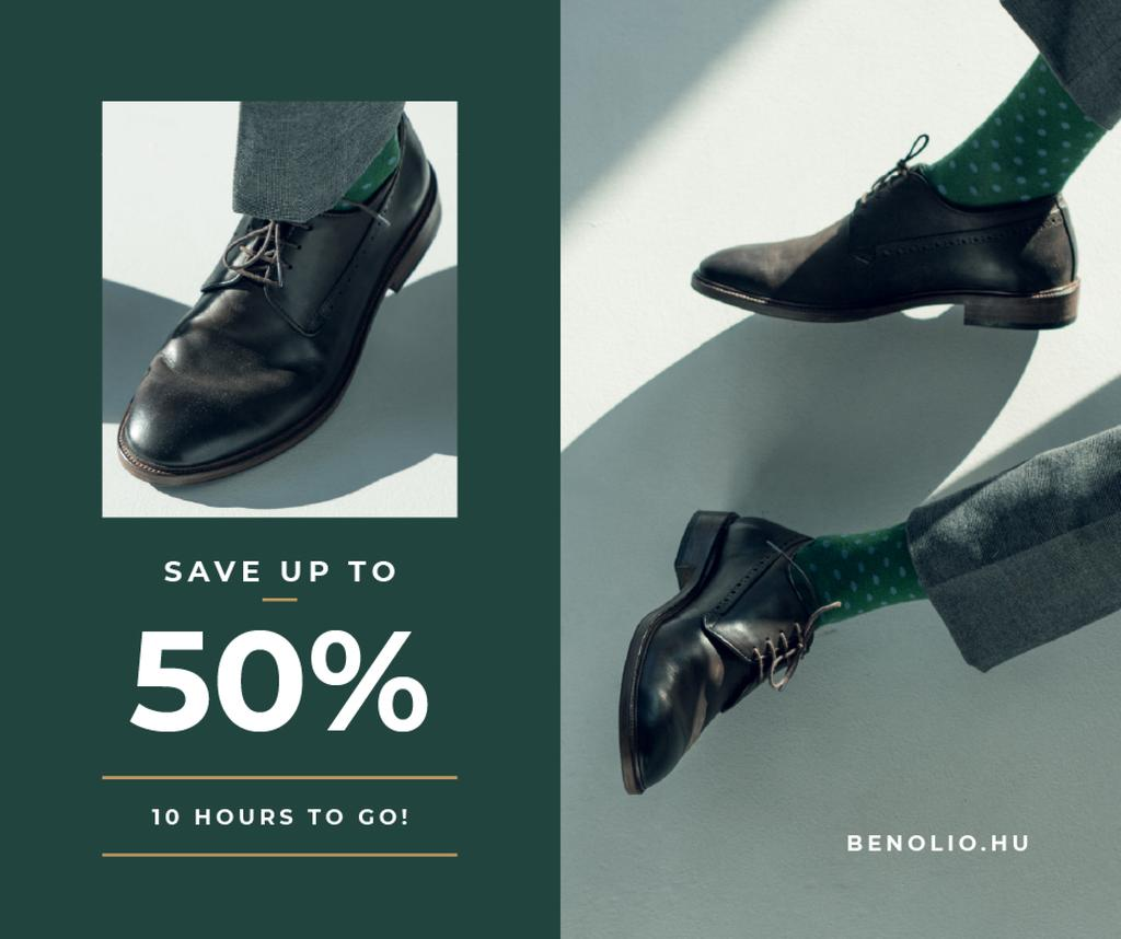 Fashion Sale man in Stylish Shoes — Crear un diseño